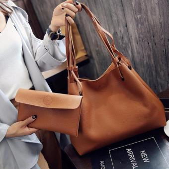 2 in 1 Large Casual Leather Bucket Shoulder Bag Office Bag Tote Bag (Brown)