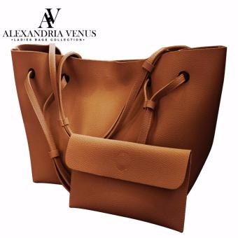 2 in 1 Large Korean Leather Bag Bucket Bag Fashion Bag Shoulder Bag Tote Bag Casual Shoulder Bag with Flat Pouch Alexandria (Brown)