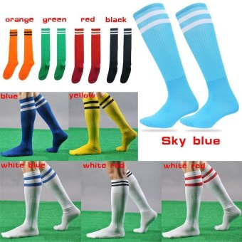 2 Pairs/set New Popular 10 color Men Women Kids Casual striped longtube Socks Professional Sport Soccer Footballs lacrosse Knee HighSocks - intl - 2