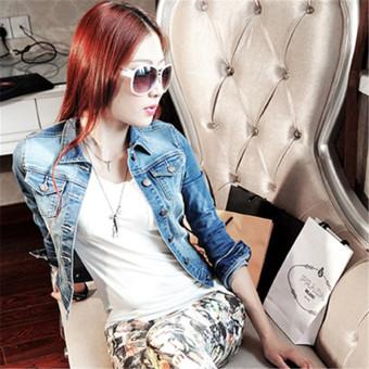 2016 New Arrived Fashion Women Casual Long-sleeved Denim JacketClothing Blue - Intl - 2