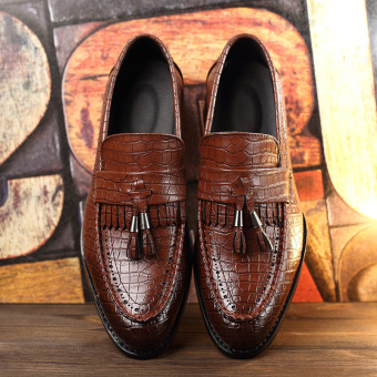 2016 New Tassel Men Oxford Shoes Mens Genuine Leather CrocodileCasual Shoes Dress Party Wedding Flats Shoes - 3