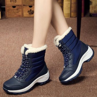 2016 Women Snow Boots Winter Warm Boots Thick Bottom Platform Waterproof Ankle Boots For Women Thick Fur Cotton Shoes Size 35-41 - intl - 2