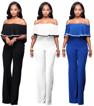 2017 Arrival Hot Sexy Off Shoulder Popular Jumpsuit for WomenFemale Girls Maxi Club Pants (White) - intl - 2