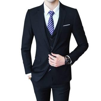 2017 Autumn New Arrival Men Casual 3 Pieces Suit Set Korean StyleWedding Party Suit Jacket Pants Vest Set - intl - 2