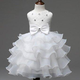 2017 Baby Christening Girl Dress Kids Ruffles Lace Dresses forGirls Princess Tutu Dress for Wedding Party Events Wear Girls(color:Rose) - intl - 5