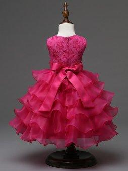 2017 Baby Christening Girl Dress Kids Ruffles Lace Dresses forGirls Princess Tutu Dress for Wedding Party Events Wear Girls(color:Rose) - intl - 3