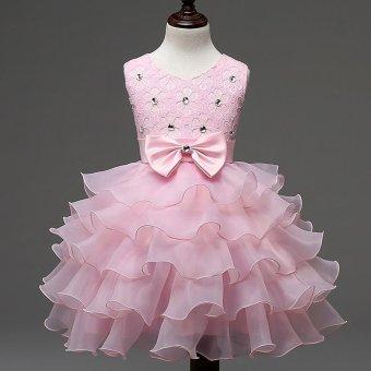 2017 Baby Christening Girl Dress Kids Ruffles Lace Dresses forGirls Princess Tutu Dress for Wedding Party Events Wear Girls(color:Rose) - intl - 4