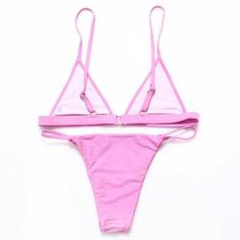 2017 Brazilian Women Sexy Halter Solid Swimsuit Beach BikiniSet(Pink) - intl - 2
