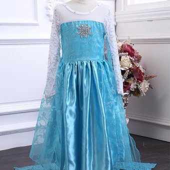 2017 New Frozen Frozen Girls Sleeve Princess Dress Dress Pattern Blue - intl - 2