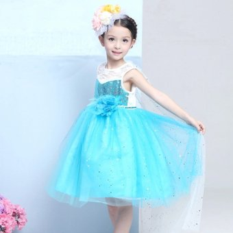 2017 New Frozen Girls Dress Feather Flower Princess Dress CapeSequins Blue - intl