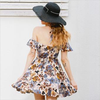 2017 New Hollow out beach party dresses Halter off shoulder summer dress women Floral print high waist sexy dress vestidos - intl - 4