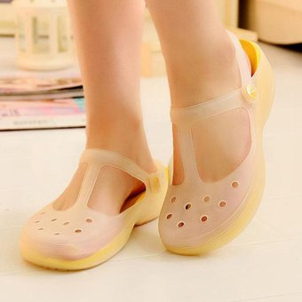 2017 New Style Fashion Woman Summer Change Color Sandals Croc Hollow Beach Shoes Leisure Girls Jelly Female Garden Shoes Gift(yellow) - intl