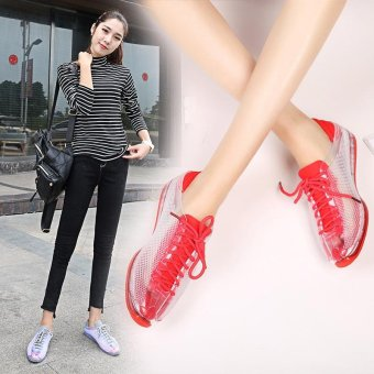 2017 New Summer Women Casual Shoes Female Ladies Girl BreathableFashion Lace Up Sport Shoes For Woman Soft Outdoor Flats WalkingShoes ( Pink) - intl - 3