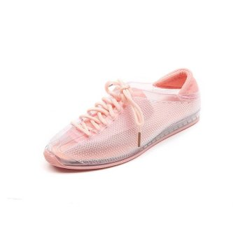 2017 New Summer Women Casual Shoes Female Ladies Girl BreathableFashion Lace Up Sport Shoes For Woman Soft Outdoor Flats WalkingShoes ( Pink) - intl - 2