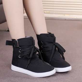 2017 new winter women's boots flat tie belt decoration high canvasshoes to help women all-match female boots - intl - 3