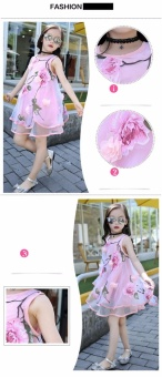 2017 Summer Girls Kids Fashion Flower Lace Knee High Ball Gown Sleeveless Baby Children Clothes Infant Party Dresses - intl - 2