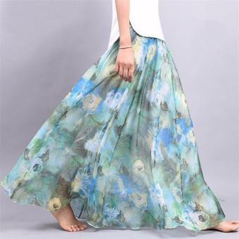 2017 Summer New Fashion Vintage Bohemia Chiffon Floral PrintedWomen Boho Floor-Length Long Maxi Beach Party Loose Flare Skirt(skyblue) - intl - 3