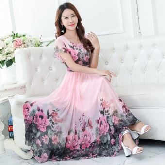 2017 Summer New Short Sleeve Was Thin Bohemian Printing Dress Long Paragraph Color Chiffon Slim Beach Dress(Only White in Stock) - intl - 3