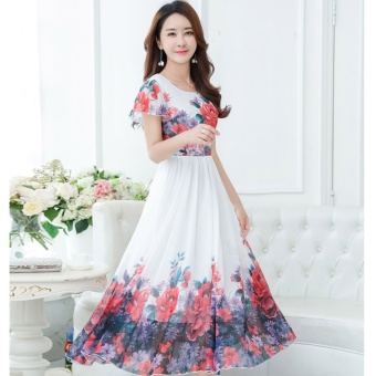 2017 Summer New Short Sleeve Was Thin Bohemian Printing Dress Long Paragraph Color Chiffon Slim Beach Dress(Only White is in Stock) - intl - 3