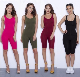 2017 Summer Rompers Women Jumpsuits Bodysuits Sleeveless Round NeckBodycon One Piece Shorts Sexy Rompers - intl