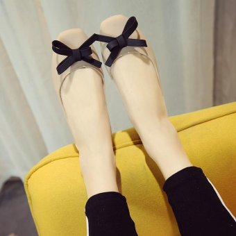 2017 water proof bowtie front women ballet flats size35 for rainyday rubber rain shoes-beige - intl