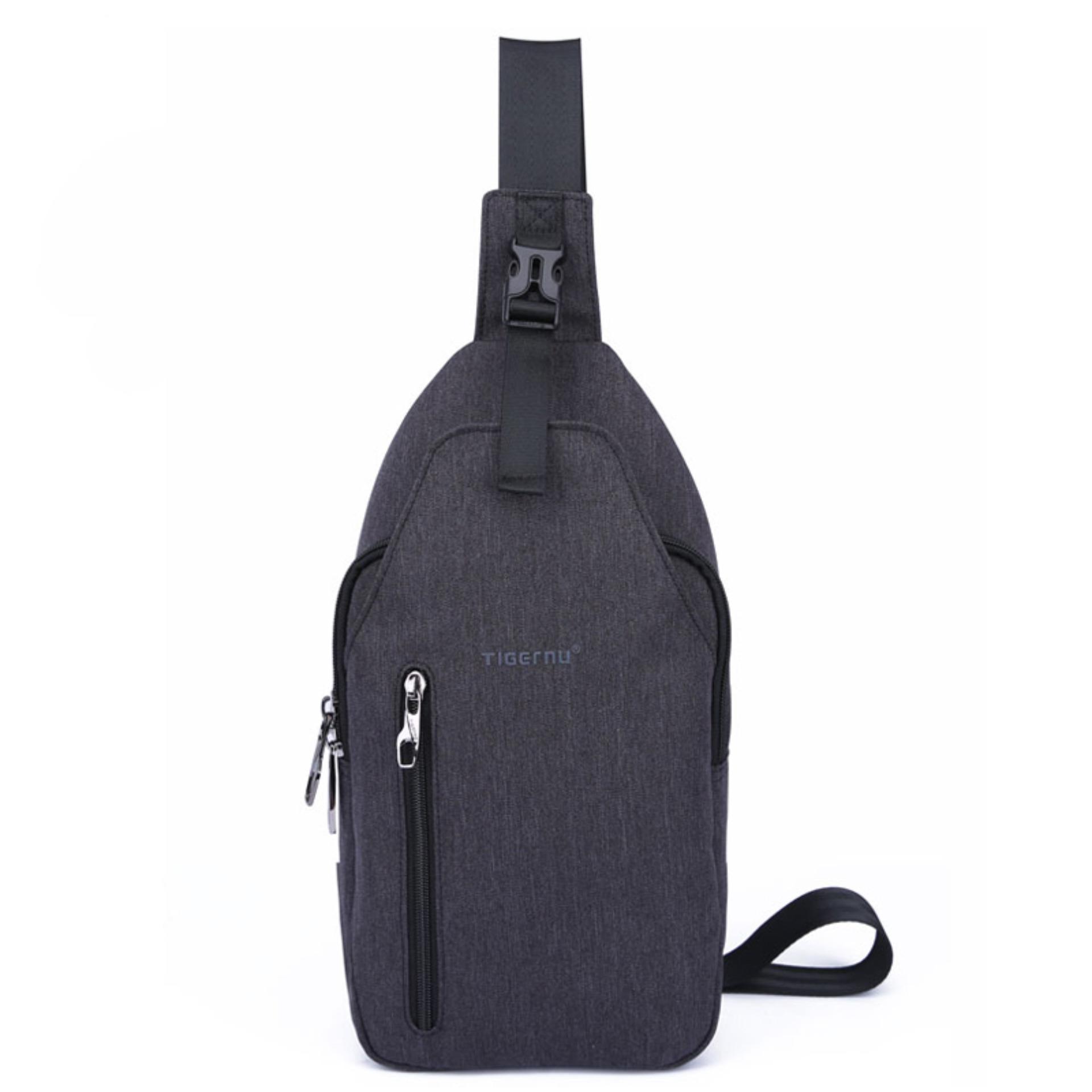 2018 Tigernu Brand Size L Waterproof Oxford Fabric Sling Phone Chest BagT-B8027(Black Grey) - intl Philippines