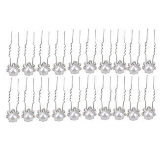 20x Bridal White Imitation Pearl Hair Pins
