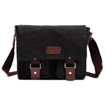 2101 Large Capacity Vintage Student Canvas Messenger Bag Black - intl Price Philippines