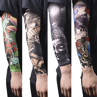 2Pcs Nylon Fake Temporary Tattoo Sleeve Arm Stockings Tatoo For Men Women W18