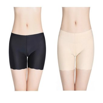 2pcs Women Ice Silk Safety Pants Dance Yoga Sport Short leggingUnderwears Boxers Boyshort One size(Black+Skin) Price Philippines