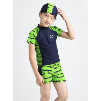 3-13Y Children Little Boy Swimsuit Rashguard Summer Two Piece Kids Swimwear Bathing Suit Beachwear (Hat+Shorts+Tops) - intl - 3