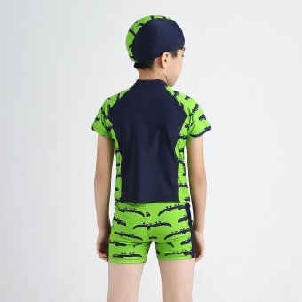 3-13Y Children Little Boy Swimsuit Rashguard Summer Two Piece Kids Swimwear Bathing Suit Beachwear (Hat+Shorts+Tops) - intl - 2