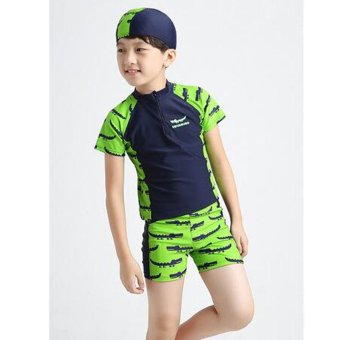 3-13Y Children Little Boy Swimsuit Rashguard Summer Two Piece Kids Swimwear Bathing Suit Beachwear (Hat+Shorts+Tops) - intl - 4