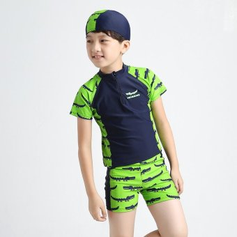3-13Y Children Little Boy Swimsuit Rashguard Summer Two Piece Kids Swimwear Bathing Suit Beachwear (Hat+Shorts+Tops) - intl