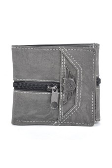 3 Fold Retro Manmade Canvas Men Multi-Card Wallet Black