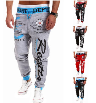 'Men''s Fashion Casual Letters Printed Patch Pocket Sports Bundle Foot Cotton Sweat Absorbent Pants Trousers Joggers(Color:Black2)' - 3