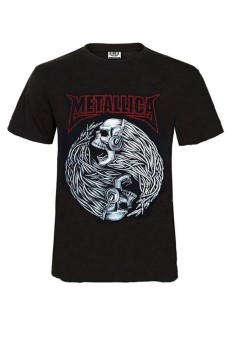 3D Skull Printed Metallica Rock Short Sleeve T-shirt (Black) (Intl)