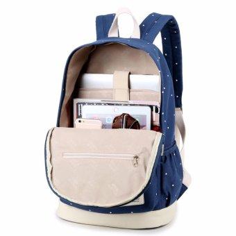 3pcs/set 2017 Canvas Fashion Backpack Women New Casual Women Backpack Preppy Dot Computer Travel Bag - intl - 2