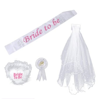 4 PCS Bride to Be Party Decoration Set Sash Garter Badge Veil with Comb for Bridal Shower Party Hen Night Bachelorette Party Supply - intl