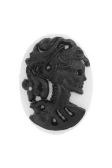 4pcs Resin Lolita Skull Vintage Style Cameo 18x13x5mm Black/White