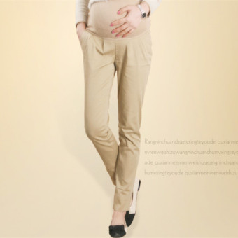 8007# Cotton Maternity Belly Pants for OL Formal Work PregnancyWaist Adjustable Casual Trousers Clothes for Pregnant Women(Khaki)- intl - 2