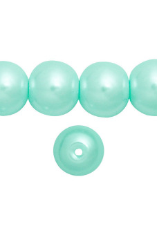 85pcs Round Glass Pearl Spacer Beads 10x10x10mm Light Blue