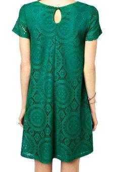 Acecharming Women Hollow Lace Crochet Short Sleeve Floral Party Mini Swing Dress Shirt Tops (Green) - Intl - 2