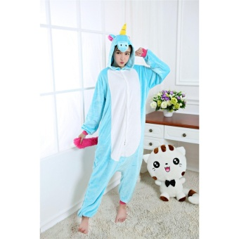 Adult Unisex Unicorn Animal Kigurumi Onesies Pajamas Cosplay Birthday Party Wear,Blue