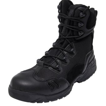 AFS Men's Outdoor Sport Army Combat Boots Travel Leather High-topBoots - black - 4