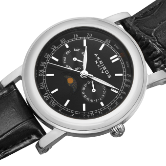 Akribos XXIV Men's Black Leather Strap Watch AK632SSB - 4
