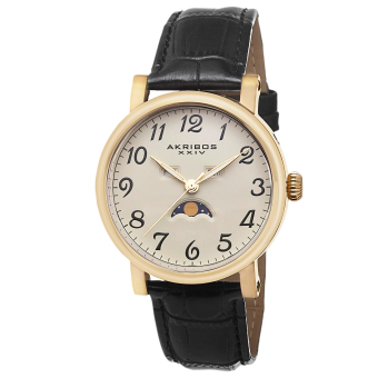 Akribos XXIV Men's Black Leather Strap Watch AK633YG
