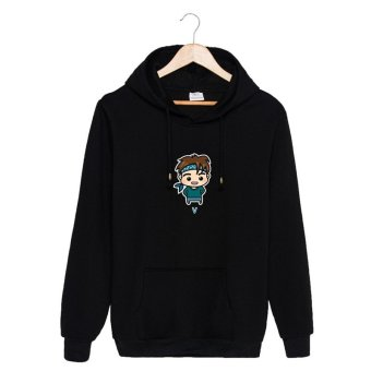 ALIPOP KPOP BTS Bangtan Boys WINGS Album YOU NEVER WALK ALONECartoon Cotton Hoodies Hat Clothes Pullovers Sweatshirt PT447(VBlack) - intl