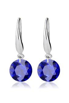 Alloy Plated Zircon Crystal Wedding Earrings (Silver Blue)