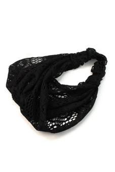 Amango Lace Headband Wide Bandanas (Black) - picture 2